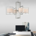 Chrome Metal Frame Chandelier with Drum Fabric Shade 4 Lights Modernism Pendant Lighting