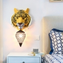 Yellow/Gray Tiger Sconce Lighting 1 Light Country Style Clear Crystal Wall Lamp with Metal Cage for Children Room