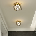 Black/White Square Flush Mount Pendant Fixture Metal Simple 1 Light Ceiling Mount Light Fixture for Corridor