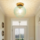Pink/Yellow/Blue/Clear Glass Flush Mount Ceiling Light with Globe Shade Minimalism 1 Light Foyer Ceiling Mounted Fixture