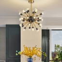 Golden Sputnik Hanging Light with Crystal Decoration Mid Century 30/44/72-Head Chandelier Lighting over Table