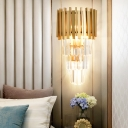 Minimalism Metal Rectangle Wall Lamp with Crystal Hallway 4 Heads Wall Light Fixture in Clear