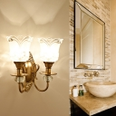 Petal Frosted Glass Wall Lamp Contemporary 1/2 Light Bathroom Sconce Lighting with Carved Backplate in Gold