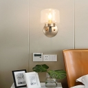 Mini Drum Wall Mount Light Nordic Clear/Blue Glass 1 Light Wall Lighting in Gold for Bedroom