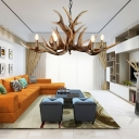Bedroom Antlers Pendant Chandelier Countryside Resin 6/10/15-Bulb Hanging Ceiling Light with Metal Chain in Brown