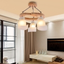 Frosted Glass Spiral Chandelier Lighting 3/5 Lights Nordic Style Hanging Pendant Light in Wood