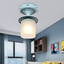 Nautical Semi Flush Ceiling Light Iron and Glass 1 Light Semi-Flush Mount Light for Hallway