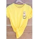 Llama Animal Pattern Rolled Short Sleeve Cotton T-Shirt for Women