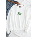 Cute Cartoon Crocodile Pattern Long Sleeve Casual Pullover Sweatshirt