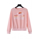 Simple Letter GET LOST Bus Pattern Long Sleeve Pink Pullover Sweatshirt