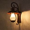 Lantern Lighting Sconce Vintage Industrial Frosted Crackle Glass 1 Light Wall Lighting in Rust