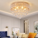 Modern Gold Flush Mount Ceiling Light 6 Bulbs Gold Flush Lighting with Clear Crystal Drop
