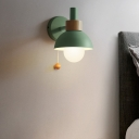 Macaron Domed Sconce Light Fixture 1 Bulb Wall Light Fixture with Metal Shade and Pull Chain in White/Pink/Green