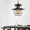 Black Wire Cage Hanging Ceiling Light Industrial Farmhouse Metal 1 Light Mini Pendant Lamp with Plug In Cord