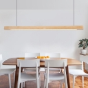 Natural Wood Linear Hanging Light Integrated Led Indoor Chandelier Light for Dining Table, Third Gear