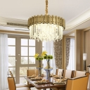 Crystal Metal Round Pendant Lights Modern Round Pendant Chandelier in Gold for Dining Room