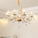 5/8 Light Candle Chandelier Light Modern Crystal Pendant Chandelier in Gold for Dining Room