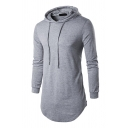 Mens Simple Long-sleeved Curved Hem Side Zipper Longline Drawstring Pullover Hoodie