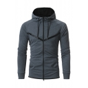 Fashion Striped Pattern Long Sleeve Zip Up Pullover Hoodie with Pocket
