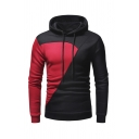 Casual Colorblocked Patchwork Long Sleeve Drawstring Hood Fitted Pullover Hoodie