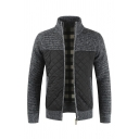 Mens Fashion Stand Collar Long Sleeve Zipper Thick Knit Cardigan Coat