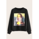 Funny Popular Character Painting Panel Crew Neck Black Pullover Sweatshirt