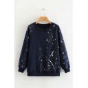 Navy Starry Sky Star Print Long Sleeve Round Neck Oversized Sweatshirt