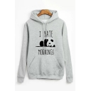 Cute Panda I HATE MORNINGS Printed Long Sleeve Pullover Hoodie with Pocket