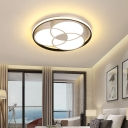 Contemporary Round Flushmount Light Metal White Led Ceiling Light Fixture with Diffuser