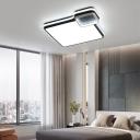 Black Flush Ceiling Light with Frosted Diffuser Led Modern Flushmount Lighting