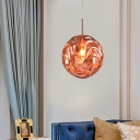 Ripple Globe Hanging Pendant Light Modern Acrylic Decorative Suspension Light in Black/Blue/Copper/Gold/Silver