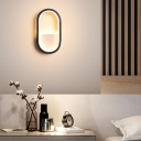 Integrated Led Oval Wall Mount Lighting with Acrylic Shade Contemporary Black/White Wall Lighting in Warm/White