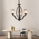 Clear Crystal Cylinder Hanging Light with Metal Chain 3/6/8 Lights Rustic Chandelier in Black