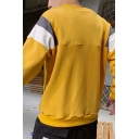 Mens New Fashion Colorblock Patched Letter Embroidered Long Sleeve Round Neck Pullover Sweatshirt