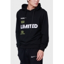 Men's Stylish Letter LIMITED Printed Long Sleeve Black Casual Loose Hoodie