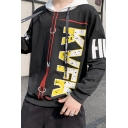 Mens Popular Fashion Letter Printed Colorblock Drawstring Hooded Long Sleeve Casual Sports Hoodie