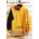 New Stylish Letter 2020 Print Long Sleeve Stand Collared Casual Pullover Hoodie