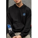 Cool Badge Embroidered Graphic Printed Long Sleeve Casual Sports Drawstring Hoodie for Men