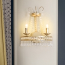 Metallic Candle Wall Light with Crystal Decor Villa Dining Room 2 Lights Luxurious Wall Lamp in Gold