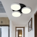 3/5/8/12 Heads Drum Flush Mount Light Modern Acrylic and Metal Ceiling Lamp in Black/White for Study Room