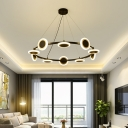 Contemporary Ring Chandelier Lighting with Disc Metal Led Pendant Hanging Lamp in Black, 22