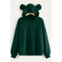 New Arrival Plain Cat Ear Design Long Sleeve Drawstring Loose Hoodie