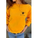 Simple BEE KIND Printed Solid Color Crewneck Long Sleeve Oversized Pullover Sweatshirt