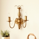 Villa Restaurant Candle/Tapered Wall Light Metal 2 Bulbs Mid Century Brass Sconce Light