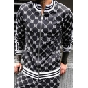 Men's New Trendy Print Striped Long Sleeve Stand Collared Sweatshirt Sports Jacket