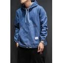 Mens Solid Color Hooded Drawstring Denim Pullover Hoodie with Big Pocket