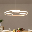 White Twisted Chandelier Lamp Contemporary Integrated Led Metal Pendant Light with Silica Gel