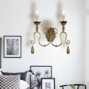 Rustic Sconce Lighting with Candle 1 Light Metal Exposed Bulb Wall Light Fixture in Legacy Brass