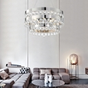 5 Lights Round Suspension Lamp with Prismatic Crystal Bead Modernism Metal Silver Pendant Lamp