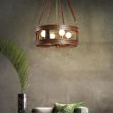 Brown Drum Chandelier Lamp Country Style Height Adjustable Metal 4 Lights Indoor Hanging Ceiling Light